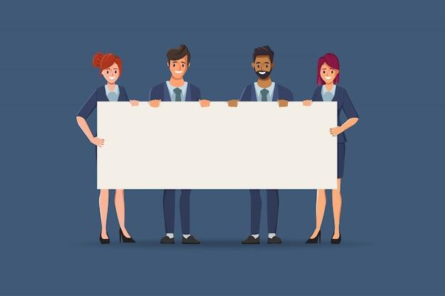 Grupo de trabalho em equipe de pessoas de negócios com caráter de espaço em branco grande banner. promoção para campanha comercial.