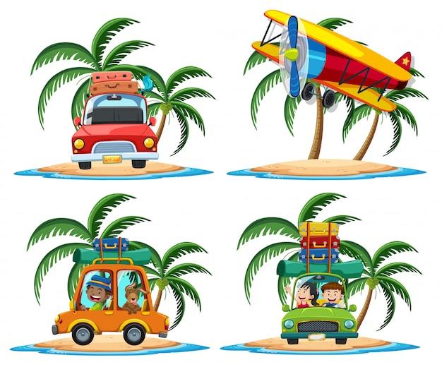 Grupo de transporte no estilo cartoon ilha tropical sobre fundo branco
