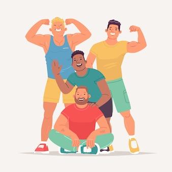 Grupo de treinadores alegres e atléticos do ginásio. fisiculturistas atletas, levantadores de peso, estilo de vida saudável