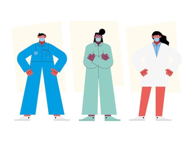Grupo de três médicos