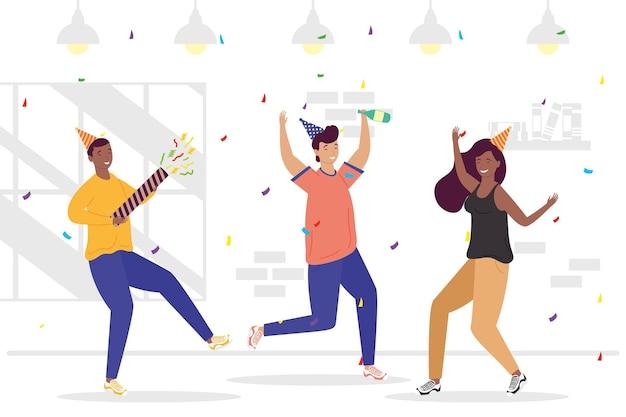 Grupo de três pessoas celebrando o aniversário de personagens ilustração design