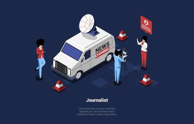 Grupo de três pessoas transmitindo com microfone e câmera, van do canal de notícias próximo.