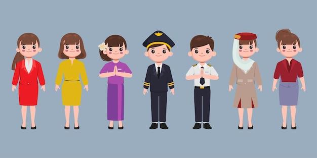 Grupo de tripulantes do aeroporto com diferentes poses