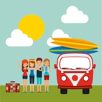Grupo de turistas bagagem e retro van surfing boards céu sol