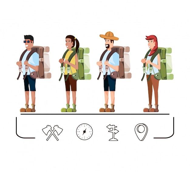 Grupo de turistas e conjunto de ícones