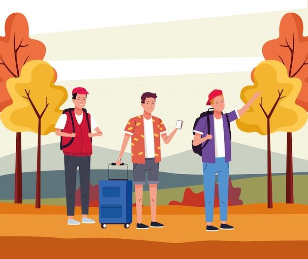 Grupo de turistas, homens fazendo atividades na paisagem de outono