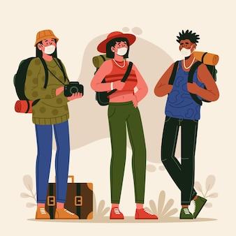 Grupo de turistas usando máscaras faciais