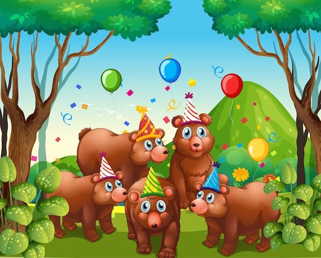 Grupo de urso em personagem de desenho animado com tema de festa na floresta