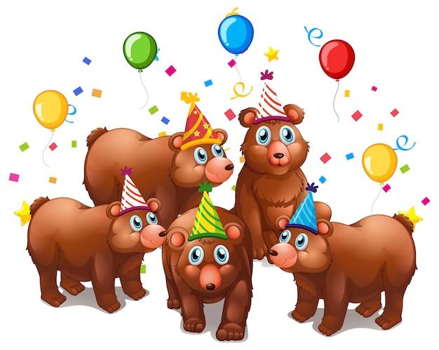 Grupo de urso em personagem de desenho animado com tema de festa