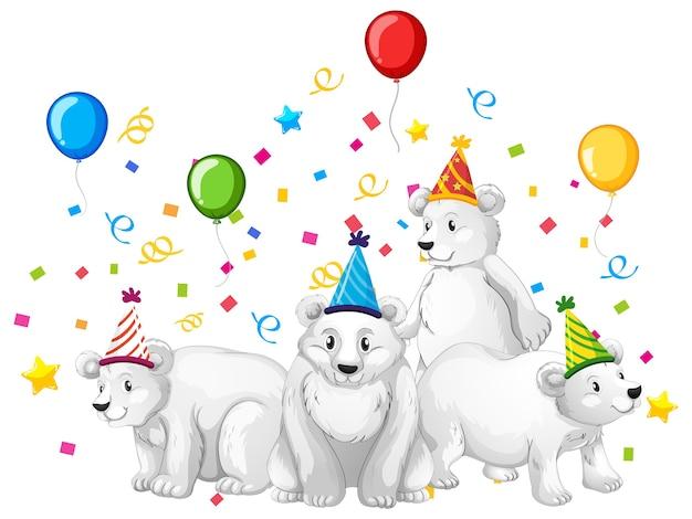 Grupo de urso polar em personagem de desenho animado com tema de festa em branco