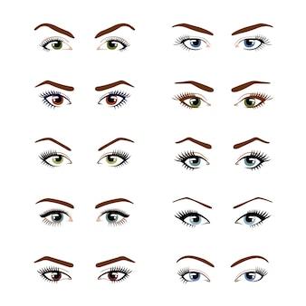Grupo de vários tipos de olhos fêmeas da cor isolados no fundo branco.