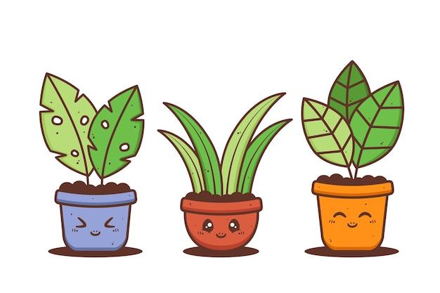 Grupo de vaso fofo de planta com várias expressões diferentes