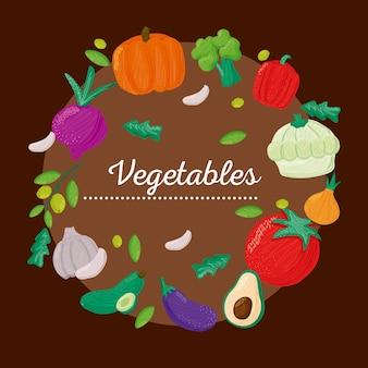 Grupo de vegetais com comida saudável em torno da ilustração