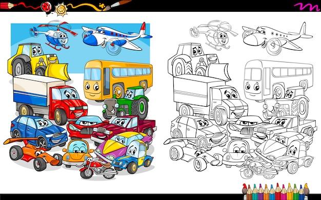 Grupo de veículos de transporte para colorir
