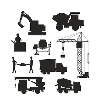 Grupo de vetor do transporte da construção do ícone das máquinas da silhueta do equipamento de construção pesada.
