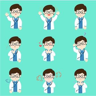 Grupo de vetor dos desenhos animados da expressão da cara do doutor.