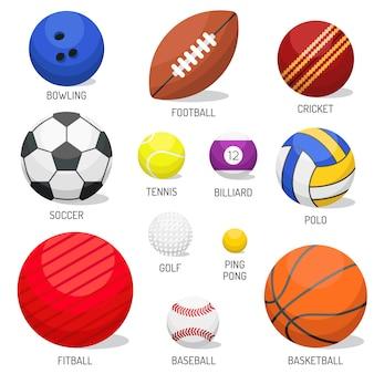 Grupo de vetor isolado das bolas do esporte.