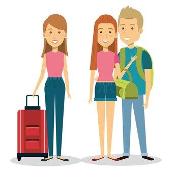 Grupo de viajantes com malas
