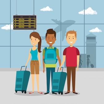 Grupo de viajantes no aeroporto