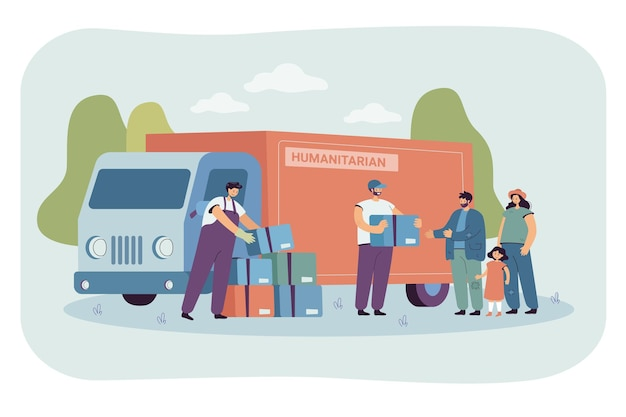 Grupo de voluntários de desenho animado dando caixas de comida para famílias refugiadas