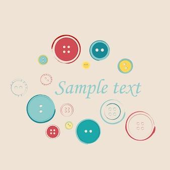 Grupo decorativo de botões de costura com texto de exemplo. ilustração vetorial de botões
