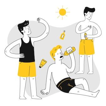 Grupo desenhado de pessoas diferentes com queimaduras de sol