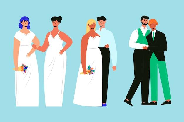 Grupo desenhado mão de casais de casamento