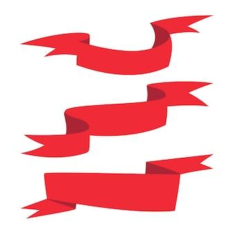 Grupo diferente dos desenhos animados das formas da bandeira vermelha da fita isolado em um fundo branco.
