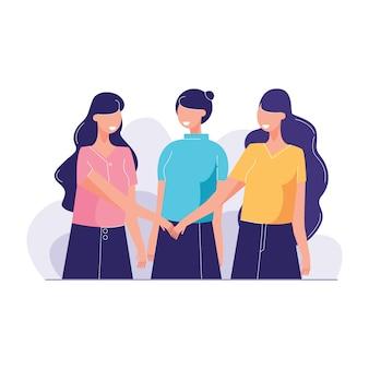 Grupo diversas pessoas juntaram as mãos para reunir trabalho em equipe