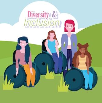 Grupo diversificado de mulheres deficientes sentadas em uma cadeira de rodas, ilustração de inclusão