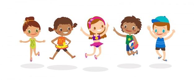 Grupo diverso de salto das crianças isolado no fundo branco, crianças felizes com traje do verão. vetorial, caricatura, ilustração