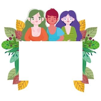 Grupo diverso perfeitamente imperfeito, feminino, banner vazio e ilustração floral