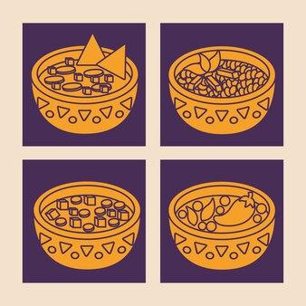 Grupo do ícone de alimento mexicano sobre quadrados roxos e fundo branco, linha colorida projeto. vector illu