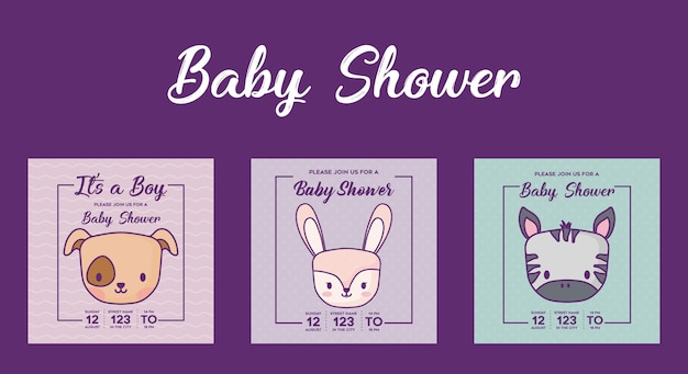 Grupo do ícone de convites da festa do bebê com os animais bonitos sobre o fundo roxo, projeto colorido. vecto