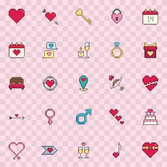 Grupo do ícone do vetor do dia de são valentim da arte do pixel.