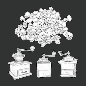 Grupo do moinho de café e vetor isolado dos feijões de café.