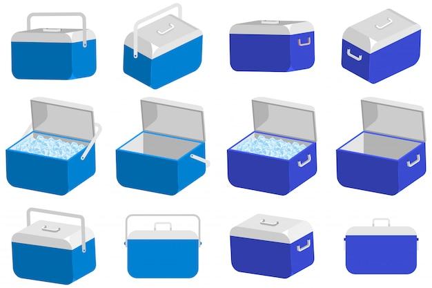 Grupo do vetor da caixa do refrigerador de gelo isolado em um fundo branco.