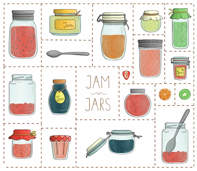 Grupo do vetor de frascos coloridos do atolamento isolados. coleção colorida de alimentos preservados em vasos