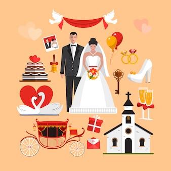 Grupo do vetor de objetos isolados cerimônia de casamento. elementos de design em estilo simples.