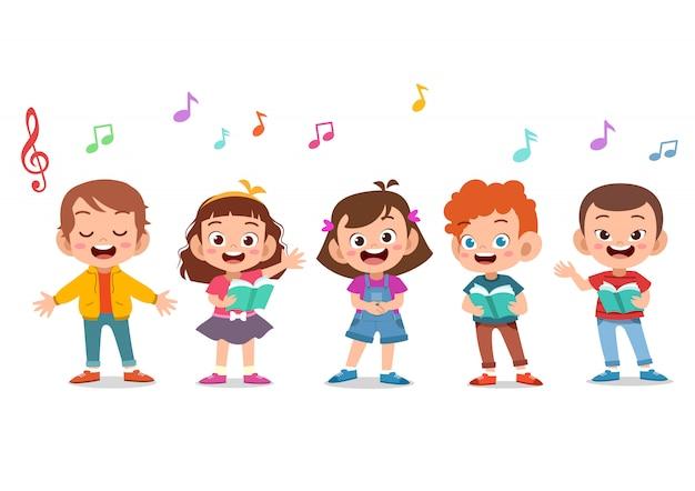 Grupo dos desenhos animados de crianças cantando no coro da escola