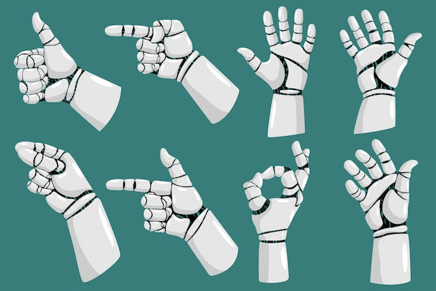 Grupo dos desenhos animados do vetor das mãos do robô isolado no fundo branco.