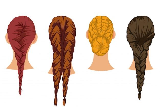 Grupo dos desenhos animados do vetor do cabelo das tranças de penteados fêmeas isolados no fundo branco.