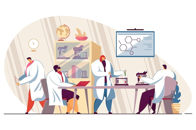 Grupo feliz de estudantes de medicina em ilustração plana isolada de laboratório