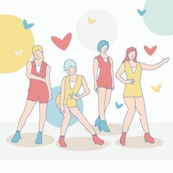 Grupo feminino de k-pop fofo