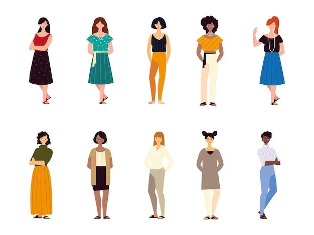 Grupo feminino personagens femininos diferentes nacionalidades cultura ilustração