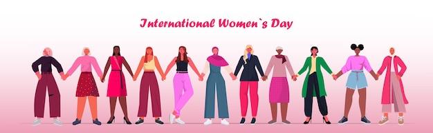 Grupo feminino que celebra o dia internacional da mulher, 8 de março