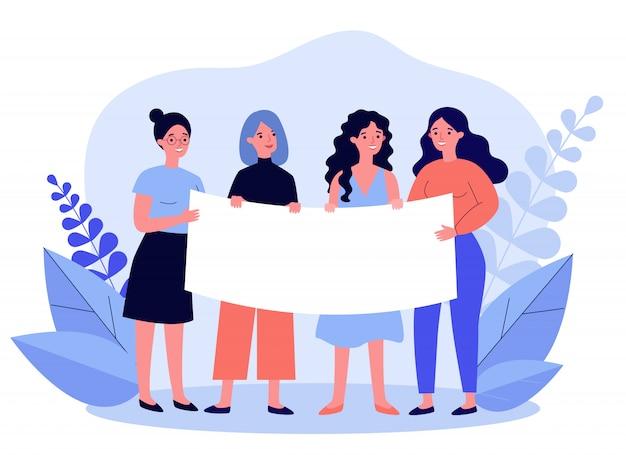Grupo feminino se reunindo para protestar
