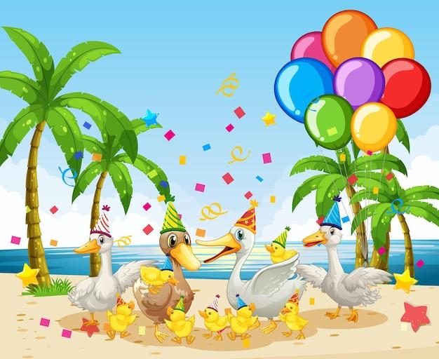 Grupo ganso em personagem de desenho animado com tema de festa no fundo da praia