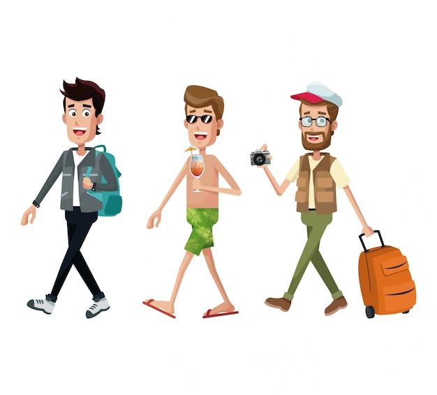 Grupo homens viajante turista