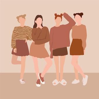 Grupo ilustrado de mulheres desenhadas à mão